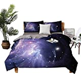 DRAGON VINES Winter Bed Sheets Outer Space Pocket Full of Sheets Space Nebula in Galaxy Complex Energy Movements Cosmos Theme Inspiring Print W79 xL90 Navy Purple