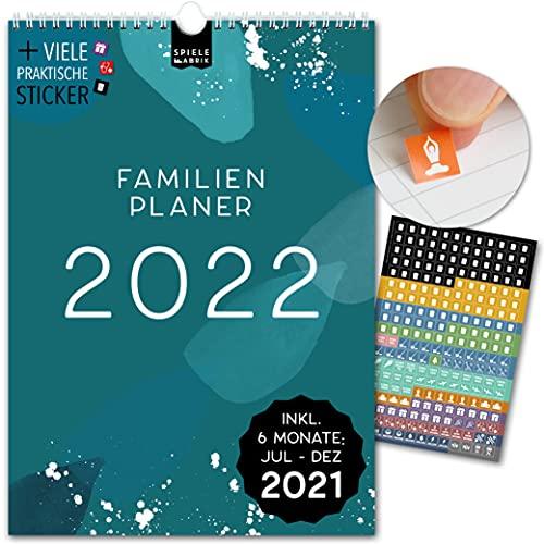 Spielefabrik Familienplaner A4 Kalender 2021 2022 Wandkalender 21x29,7cm Familienkalender 2022 mit 5 Spalten Familienplaner 2021 2022 von Juli 21 - Dez 22 Mit Stickern, Tasche, Ferien MUSTER