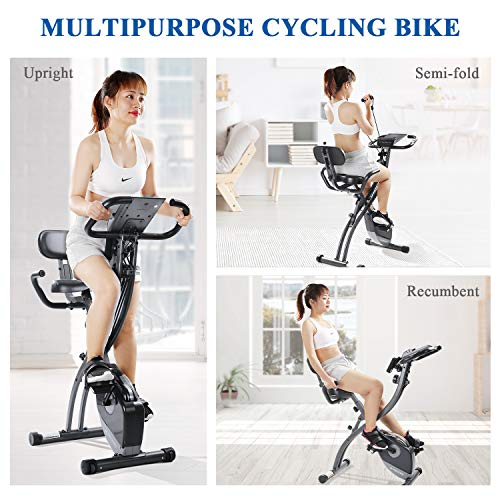 MaxKare Exercise Bike Slim Cycle 3-in-1 Folding Stationary Bike Recumbent Exercise Bike Machine Home Seated Portable with Adjustable Arm Resistance Bands/LCD Monitor and Pulse Grip