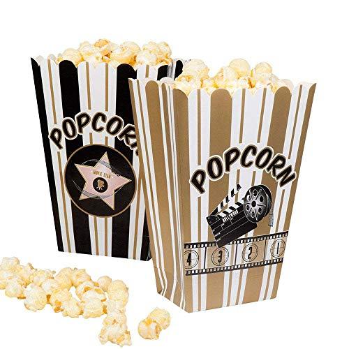 Boland 44210 Set Bols pour Popcorn Hollywood, Blanc/Noir/Or