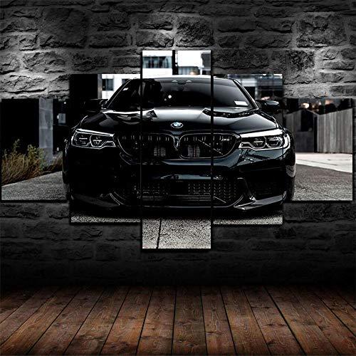 KOPASD Super Coche Negro M5 5 Panel Lámina del Paisaje del Arte impresión en Lona Cuadros de la Pared de la Foto,para el hogar decoración Moderna impresión