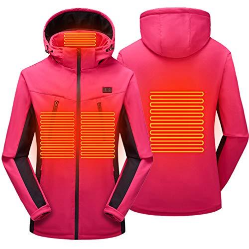 Yeah-hhi Chaqueta térmica para hombre y mujer, 4 áreas, calefacción, 3 temperaturas, carga USB, impermeable, resistente al viento, para camping, senderismo, caza, mujer ~ rosa, XXL