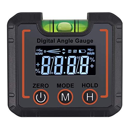AUTOUTLET Digitaler LCD Neigungsmesser, Winkelmesser Schrägkasten/Winkelfinder Digital Magnetic Angle Gage Level/Protractor/Bevel Gauge, °/% / mm/m/IN/FT Maßeinheit, mit horizontalen Blasen
