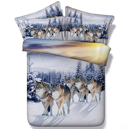 Alicemall 3D Wolf Bedding Twin Snow Wolf Pack Prints 5 Pieces Cotton Tencel Comforter Sets Twin Size Kids Bedding (Twin, Snow Wolf)