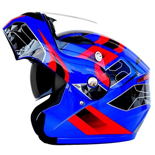 Qianliuk Motorrad-Motorrad-Helm Antifogging Dual Lens Full Face Sicherheitskappe Flip Up Helme Adult Motorcross Helm