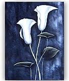 Wallpaper M Cuadro de Flor de tulipán Blanco Vintage DIY Pintura al óleo por número decoración del hogar Regalo para Colorear Digital Pintado a Mano Pintura única Lienzo Pincel preprint 40X50Cm