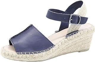 Women Espadrille Wedge Sandals Open Toe Heels Platform Ankle Buckle Strap Summer Slingback Shoes