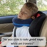 BCOZZY Kinder Nacken und Kinn stützendes Reisekissen - unterstützt den Kopf, Hals und das Kinn. Ein Patentiertes Produkt. Kindergröße, MARINEBLAU - 3