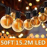 Svater Guirlande Lumineuse Exterieure 15 Mètre avec 46 Ampoules,Guirlande Guinguette Extérieur,étanche IP45, E12 Base Pour Patio Jardin Extérieur Lumières de Guirlande,Blanc Chaud