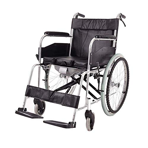ZNZ - Silla de ruedas (aleación de aluminio, para personas mayores, con discapacidades, con asiento, plegado claro, espacio de maniobra, reposapiés orientable, reposapiés giratorio)