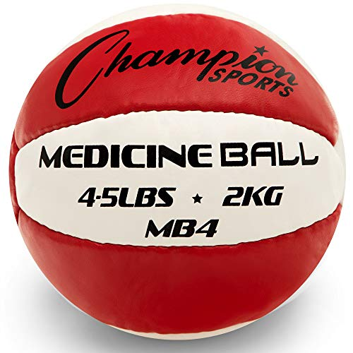 Champion Sports MB4 Exercise Medicine Balls, 4-5 lbs, Leather with No-Slip Grip for Weight Training, Stability, Plyometrics, Cross Training, Core Strength