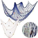 TANGGE 2 PCS Red de Pesca Decoración con Conchas Azul y Beige,Decorativa Red de Pesca Ná...