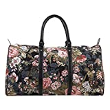 Signare Tapestry Large Duffle Bag Overnight Bags Weekend Bag for Women with Peony Design (BHOLD-PEO)