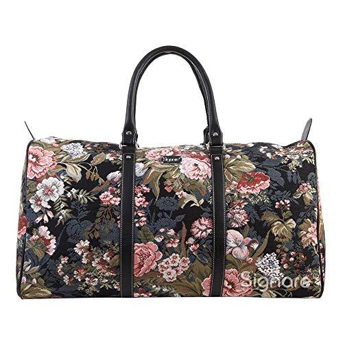 Signare Gobelin-Gepäcktasche für Reisen und Sport/große Reisetasche für Damen Sporttasche Damen mit Garten Designs (Pfingstrose)