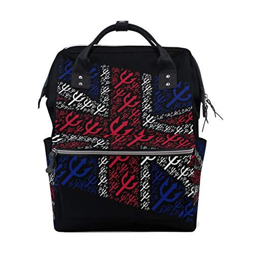 Alinlo Wickeltasche mit britischer Londoner Flagge und Pfeilmotiv, große Kapazität, Multifunktions-Rucksack für Reisen