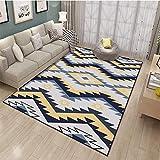 HXJHWB alfombras Salon Grandes Natural Suave - Multicolor Costura en Zigzag Alfombra Interior Sala de Estar Estudio Simple impresión 3D se Puede Lavar-Los 80CMx120CM