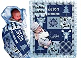 Personalize It Baby Blankets with Baby' Name Year (Blue, 30x40) Woodland Animals Bear Adventure Explorer for Newborn Baby Room Nursery Christening or Baptism