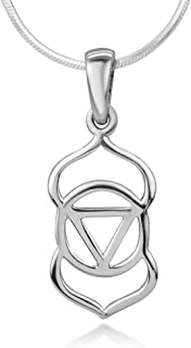 "SUVANI Sterling Silver Open Ajna 3rd Third Eye Chakra Symbol Spiritual Pendant Necklace 18"" Chain"