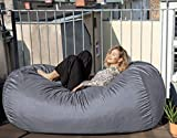 Der größte Sitzsack Europas - Riesiger Sitzsack - OUTDOOR VERSION - 1500 L Memory Schaumstoff Füllung und Wasserfesten Bezug in Platin-Grau - Gemütliches Sofa, Bett, Bean Bag für Kinder und Erwachsene