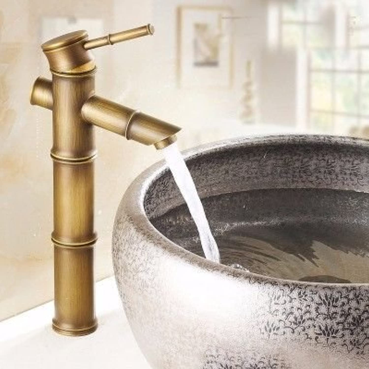 ETERNAL QUALITY Bathroom Sink Basin Tap Brass Mixer Tap Washroom Mixer Faucet Basin faucet antique bamboo wash basins and cold water slot blender xksj Kitchen Sink Taps