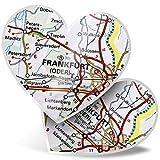 Impresionante pegatinas de corazón de 15 cm – Frankfurt Alemania, mapa de viajes de la ciudad divertido calcomanías para portátiles, tabletas, equipaje, reserva de chatarra, frigorífico, regalo genial #45066
