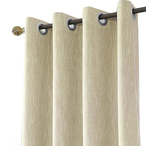 Melodieux 1 Pieza Cortinas Opacas para Salón y Dormitorio Infantiles Cortinas Termicas Aislantes para Puertas Exteriores, Beige/168x229cm