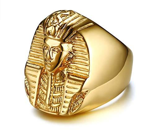 HAMANY Ancient Statement Jewelry Anillo de faraón Egipcio de Acero Inoxidable Chapado en Oro de 18 Quilates para hombresTalla 9-13
