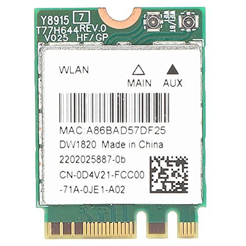 PUSOKEI Tarjeta de Red Mini PCI-E de Banda Dual, Tarjeta de Red para Computadora Portátil 2.4Ghz / 5Ghz 11A / B/G/N/AC 867Mbps Tarjeta Adaptadora Bluetooth 2 en 1 WiFi para DELL DW1820 para Wi