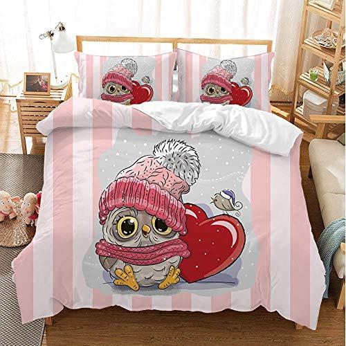Snoevpar Bettwäsche-Set, Cartoon-Tier-Eule, 230 x 220 cm, 3-teilig, ultraweich, dick, hypoallergen, moderner Bettbezug + 2 Kissenbezüge, 50 x 75 cm