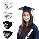 Class of 2021 Graduation Decorations Face Mask Congrats Grad Reusable Washable Breathable Adjustable Black Gold White Cotton Cloth Facemask with Nose Wire Congratulations Graduate, Gifts for Her Him