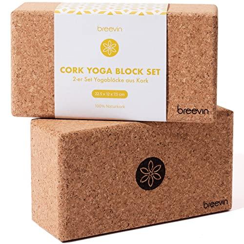 BREEVIN Yoga Block Kork 2er Set - Ökologisch und Schadstofffrei - Rutschfeste, Stabile und Ergonomische Yogablöcke - Zubehör für Yoga, Pilates und Fitness - Pflegeleichter & Antibakterieller Yogaklotz