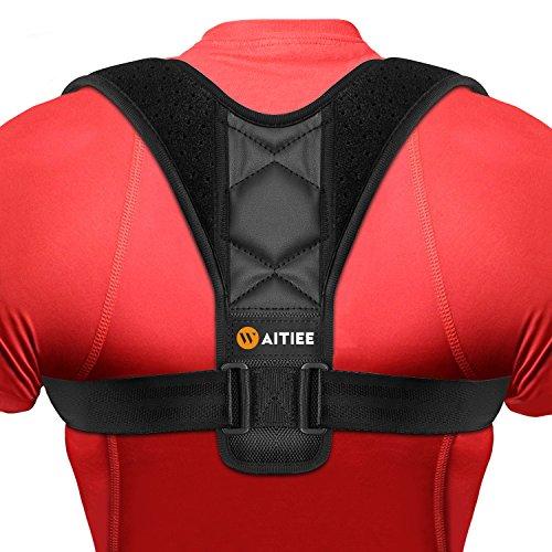Waitiee postura corrector soporte de apoyo para las mujeres jóvenes de la banda de resistencia para el dolor de espalda superior ajustable postura corsé para mejorar la mala postura apoyo espalda (Neg (Black041)