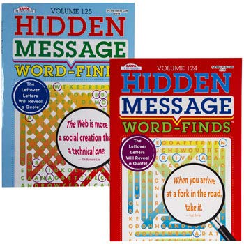 Hidden Message Word Finds Puzzle Book (Pack of 2 Assorted Books) Fun Game for Kids, Adults
