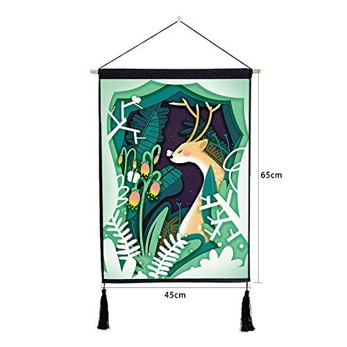 mmzki Cartoon Elch Gemälde Kinderzimmer Dekoration Malerei Baumwolle Leinen Quaste hängen Tuch U 46 * 65CM