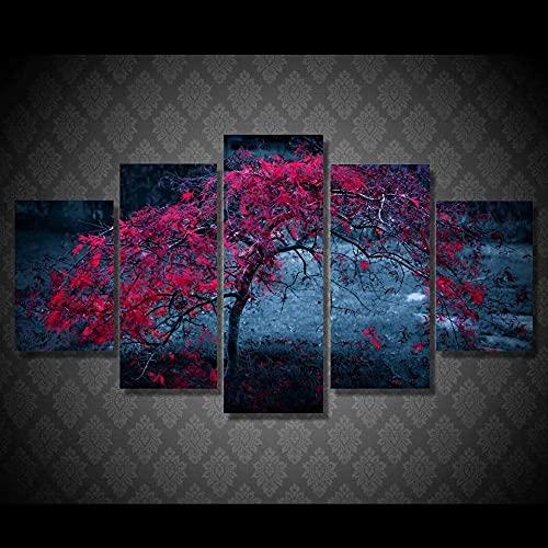 QQWER Modular HD Lienzo Imagen 5 Piezas Cuadro sobre Arte Pared 5 Partes Modernos Muralárbol, Hojas, Púrpura, Otoño Impresión Salón Decoración Frame Poster
