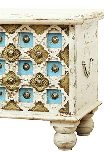 Orientalische Truhe Kiste aus Holz Anik Weiss 60cm | Vintage Sitzbank mit Aufbewahrung für den Flur | Aufbewahrungsbox mit Deckel im Bad | Betttruhe als Kissenbox oder Deko im Schlafzimmer - 4