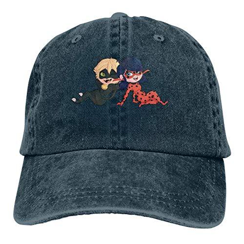 Men's Vintage Adjustable Cap Design Miraculous Ladybug Fashion Cotton Baseball Cap, Red Sombreros y Gorras