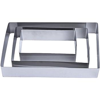 0 cm Equinox 516606 Lot de 3 moules /à g/âteau INOX Forme rectangulaire L 12-14.5-16 cm l 20-22.5-25 cm H 6 cm Acier Inoxydable