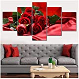 Pintura Modern Art Print Live Wall 5 Piezas/Set Red Rose Photo Canvas HD Decoración Picture Poster-30x40 30x60 30x80cm sin Marco