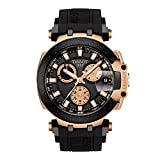 Tissot Men's T-Race Chrono Quartz 316L Stainless Steel case with Black and Rose Gold PVD Coating Swiss Silicone Strap, 22 Casual Watch (Model: T1154173705100)