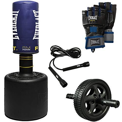 Everlast FIT Sac de frappe sur pied, corde, roue abdominale et gants de sac