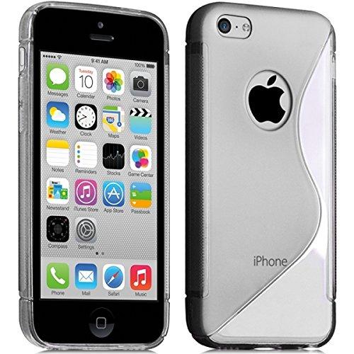 Seluxion-Funda con tapa, carcasa de gel transparente para iPhone 5C incluye protector de pantalla