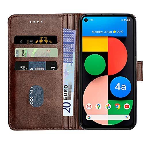 Baiyian Ledertasche Brieftasche Schutzhülle Flip Hülle für Google Pixel 4A, Braun
