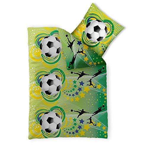 CelinaTex Fashion Fun Kinderbettwäsche 135 x 200 cm 2teilig Baumwolle Bettbezug Fußball grün gelb schwarz