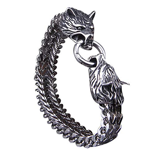 QKFON Pulsera de acero de titanio con cabeza de lobo, pulsera de acero inoxidable, unisex, pulsera de personalidad, regalo único