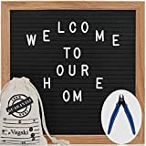 Letter Board - 10'' x 10'' Black Felt Letter Board with 460 Letters, Changeable Letter Board 10x10 Word Board,Business Message Board, Letter Sign with Mounting Hook Canvas Bag +Cute Scissors VAG021
