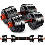 Weights Dumbbell Set Adjustable Dumbbells –Premium Dumbbell Barbell Combo For Fitness – Weight...