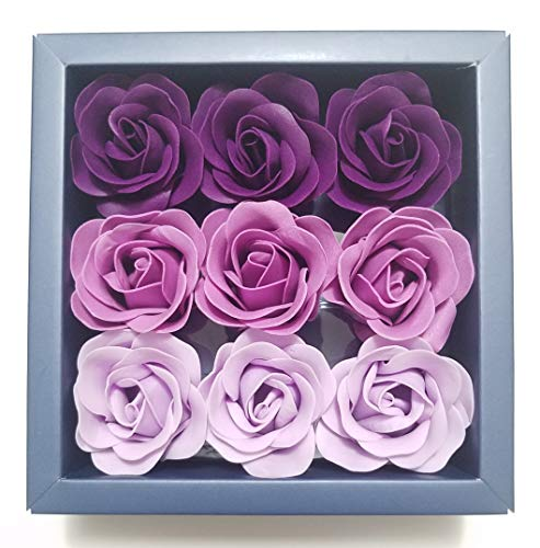 Box of Purple Flora Scented Roses Flower Bath Soap, Plant Essential Oil Rose Soap in Gift Box, Gift for Anniversary/Birthday/Wedding/Valentine's Day/Mother's Day 9 Pcs