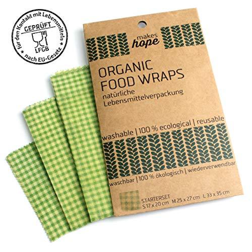 makes hope Bienenwachstücher - Klasse statt Masse - natürliche Lebensmittelverpackung (Starterset)