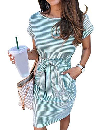 ECHOINE Women's Summer Striped Dresses, Short Sleeve T Shirt Dress Casual Tie Waist with Pockets Arm Green